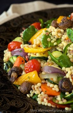 Mediterranean Roasted Vegetable and Pearl Pasta Salad - A colorful fabulous roasted vegetable salad w/ delicious pearl pasta and a lemony garlic dressing. Roasted Vegetable Pasta, Roasted Vegetables, Pasta With Vegetables, Roasted Vegetable Recipes, Vegetable Ideas, Veggie Pasta, Pasta Recipes, Cooking Recipes, Couscous Recipes