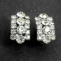 Mid Century Rhinestone Earrings Sparking Silver Tone Clip Ons Excellent  | eBay