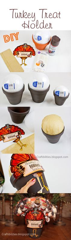 DIY Turkey Treat Holder - FREE printable- HAPPY THANKSGIVING. Can hold ANY TREAT ON A STICK! She used dipped marshmallows but great for cake pops, dipped oreos, or fruit!!!