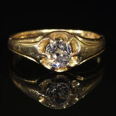 Antique Victorian Diamond Solitaire RIng in 18k Gold, .8ct