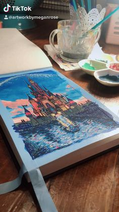Disney Canvas Paintings, Simple Canvas Paintings, Easy Canvas Art, Mini Canvas Art, Acrylic Paintings, Castle Painting, Painting Of Girl, Trippy Painting, Gouache Painting