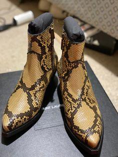 Saint Laurent Paris Lukas Boots In Python   Grailed Saint Laurent Chelsea Boots, Saint Laurent Paris, Tap Shoes, Dance Shoes, Python, Cool Style, Saints, Footwear, Shopping