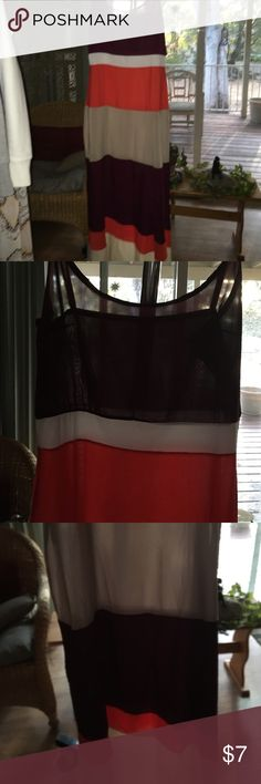 Beautiful maxi sheer dress with side zipper SZ Lrg Beautiful sheer made in China SZ large. NWOT. Maroon, white, orange and cream. Side zipper same dress in another listing in my closet just different colors. Dresses Maxi