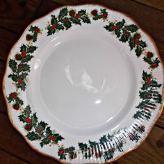 Vintage Rosina China Queen's Yuletide Plate Holly Berries Pinecones  at Saltymaggie's Treasures on Ruby Lane.