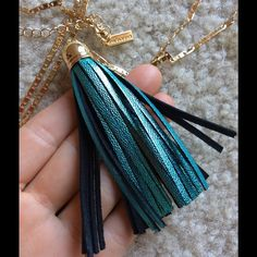 Baublebar  Metallic Blue Leather Tassel Gold Neck Excellent condition. Low golden chain with multi size settings. Glimmer. Shine. Luster. Mermaid shiny blue cut leather tassel necklace. 1920s flair. Catches the light. Where on your summer resort vacation. Classychic. Boho. Bohemian chic. Horseback riders may like. Funky. Chic. Professional. Business attire. Glam. Glamour. The neck. Baublebar Jewelry Necklaces