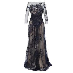 Monique Lhuillier Lurex Tulle Embroidered Ink Blue Lace Gown