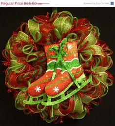 ON+SALE+Ice+Skate+Christmas+Wreath+Christmas+by+wreathsbyrobin