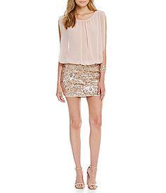 Aidan Aidan Mattox Sequin Blouson Sleeveless Dress #Dillards