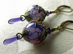 Amethyst Purple Dragon Vein Crystal Earrings by TitanicTemptations, $27.00