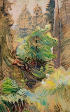 Windswept trees, 1934 Emily Carr at Dulwich Picture Gallery Emily Carr, Canadian Painters, Canadian Artists, Group Of Seven Paintings, Dulwich Picture Gallery, Landscape Paintings, Landscapes, Tree Paintings, Small Paintings
