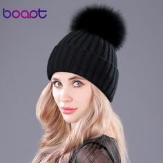 944f981215e  boapt  Warm Natural Raccoon Fur Hats for Women Knitted Braid Beanie Female  Caps Pompon