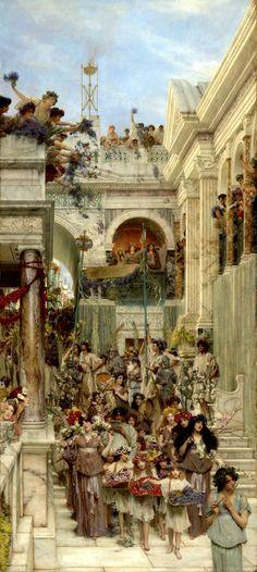 Primavera (1894)  Lawrence Alma-Tadema  Óleo sobre tela  178.4 x 80.3 cms.  J. Paul Getty Museum, Los Angeles