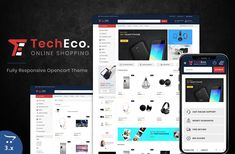 Techeco - The Shopping Mall OpenCart Template Ecommerce Website Design, Website Design Layout, Website Design Inspiration, Web Layout, Layout Design, Design Ideas, Learn Web Design, Creative Web Design, Best Website Templates