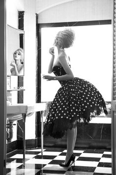 Pin up girl, 1950s, dress, lip stick, polka dots, heels, bathroom, glamour. #soapandglory