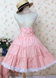 Sweet Pink High Waist Lolita Skirt Dress $49.99-Cotton Lolita Skirts - My Lolita Dress