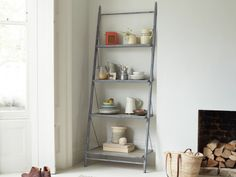 Its a shame that famous Italian tower wasnt built from the same solid stuff as our leaning bookcase. Hand-welded from steel and reclaimed timber, itll last a darn sight longer. Leaning Ladder Shelf, Ladder Shelf Decor, Ladder Shelves, Wooden Storage Shelves, Standing Shelves, Industrial Shelving, Industrial Style, Comfy Sofa, Flat Ideas
