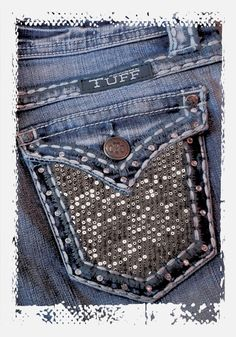Jazzy II Jeans by Cowgirl Tuff     Medium wash with light distressing, sequin fabric back pockets, antique silver ribets and thick white stitching.  #JAZYII (Women's) | #GJJZII (Girl's)  | Holiday 2012