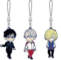 The merchandise for Yuri On Ice has started to trickle in, and these Movic rubber straps are one of the first items that feature the main characters of the anime!