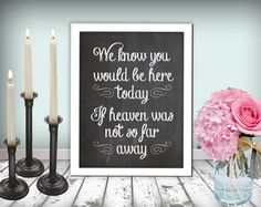 we know you would be here today if heaven wasn't so far away. need something like this at my wedding Anne McDermott Fall Wedding, Rustic Wedding, Our Wedding, Dream Wedding, Sparkle Wedding, Wedding Dreams, Wedding Stuff, So Far Away, Memory Table