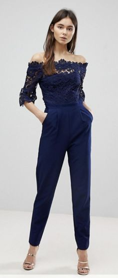 Buy Paper Dolls Tall Bardot Cutwork Lace Tailored Jumpsuit at ASOS. Get the latest trends with ASOS now. Tailored Jumpsuit, Lace Jumpsuit, Jumpsuit Outfit, Petite Jumpsuit, Classy Jumpsuits For Weddings, Outfits For Weddings, Bardot, Spring Outfits, Trousers