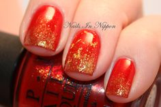 OPI Skyfall 007 Red and Gold Mani: The Spy Who Loved Me, Goldeneye and The Man With The Golden Gun