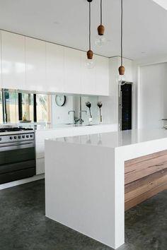 designer profi küche - kochinsel weiss mit dunkler arbeitsplatte, Wohnzimmer dekoo