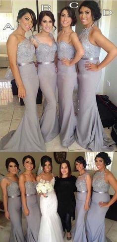 2017 Popular Four Differnt Styles Mismatched Lace Grey Sexy Mermaid Long Bridesmaid Dresses, WG62