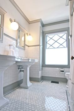 QUARTER design studio | Victorian Bathroom | Melrose, MA – marble hex floor with subway tile and grey trim moulding