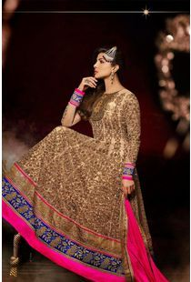 ca514d090e2 Buy Cream embroidered net semi-stitched salwar with dupatta Online