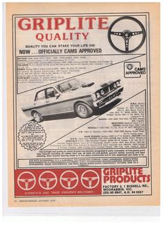 Falcon Gtho 'Griplite' AD From Vintage 1979 Aust Magazine Ford GT XY XW XR XT | eBay