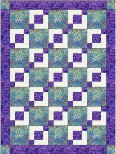 Stepping Stones Easy 3 Yard Downloadable Quilt Pattern With this economically-priced pattern, you simply take 3, one-yard cuts of fabric plus a few hours and make a beautiful quilt top with binding and borders. The pattern includes an assembly diagram and step-by-step directions that make your cutting and piecing a breeze! Be sure to check out all the photos to see how good it looks in a variety of fabrics. Finished size of quilt 43.5 x 58.5 inches (110.49 x 148.59 cm). Tutorials and Blog…