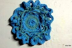 Mandala 13. Everything Is Not As It Seems. Crochet Art Mandala in Oceanic Swirls of Sky and Seafoam//The Mandala Project by Alice Fate  Visit www.alicefate.com/mandala-project to learn more!