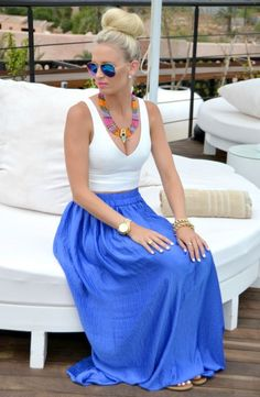 Top And Blue Maxi Skirt 2017 Street Style