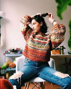 Crochet Jumper, Crochet Crop Top, Crochet Blouse, Knit Crochet, Sewing Clothes, Crochet Clothes, Diy Clothes, Winter Blouses, Crochets Braids