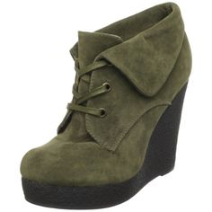 Dollhouse Women's Dolo lace up Wedge Bootie