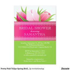 "Pretty Pink Tulips Spring Bridal Shower 5"" X 7"" Invitation Card"