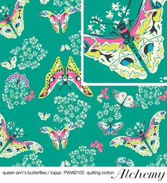 FOR MY GIRL!!!    Amy Butler fabric QUEEN ANNS BUTTERFLIES in Topaz by GlamFabrics, $4.45