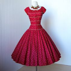 1950's dress deigner Pat Premo red and cream polka dot polished cotton full circle skirt pin-up cocktail party dress