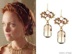 Reign 3x01, Elizabeth wears these Stephen Dweck smoky quartz and pearl drop earrings