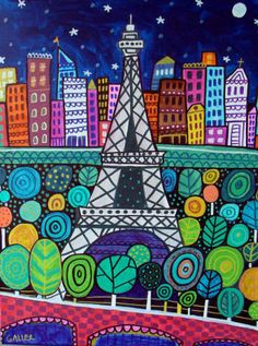 Paris France Art Eiffel Tower Folk Art Poster by HeatherGallerArt, $24.00