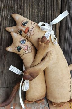 Котейки-неразлучники - коричневый,неразлучники,коты,подарок влюбленным