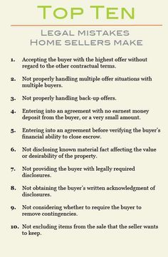 top 10 legal mistakes home sellers make hire goss realty group and this