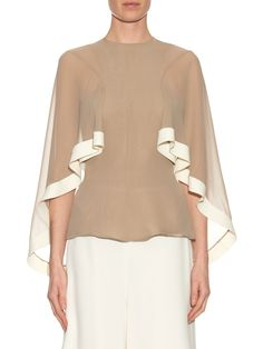 Bi-colour cape-detail silk-chiffon top | Esteban Cortazar | MATCHESFASHION.COM