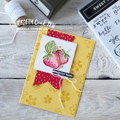 Strawberry Flower, Fruit Stands, Card Sketches, Scrapbook Cards, Stampin Up Cards, Making Ideas, Cardmaking, Birthday Cards, Paper Crafts