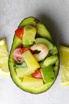Our Shrimp and Pineapple Salad Stuffed Avocados are a fast, easy, and tasty option for a light lunch or a snack.