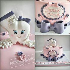 Diş pastası Unicorn Cupcakes Toppers, Fondant Cake Toppers, Cute Polymer Clay, Diy Clay, Dental Cake, Halloween Costume Props, Tooth Cake, Rainbow Birthday Party, Sweet Bakery