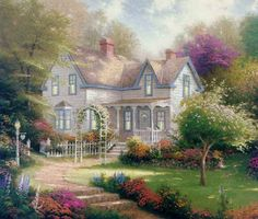 Thomas Kinkade Home Is Where The Heart Is II painting for sale, this painting is available as handmade reproduction. Shop for Thomas Kinkade Home Is Where The Heart Is II painting and frame at a discount of off. House Painting, Diy Painting, Garden Painting, Thomas Kinkade Art, Kinkade Paintings, Thomas Kincaid, Art Thomas, Victorian Cottage, Victorian Farmhouse