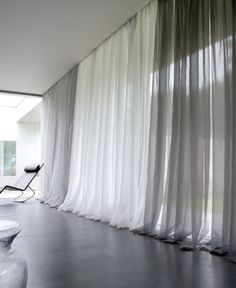 Pool the long drapes at the floor for a specific look. Pool the long drapes at the floor for a specific look. Home Curtains, Curtains With Blinds, Sheer Drapes, Modern Curtains, Gray Curtains, Drapery, Curtains Bay Windows, Grey And White Curtains, Tapestries