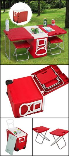 http://amzn.to/1qvXYZN Do you love the outdoors? Whether it's at the park, the beach, or camping, this cooler/ table with chairs will make it a more enjoyable experience. It's a cooler for your cold drinks, has two iron tube chairs for comfortable eating and ample table space for your food. Get one and enjoy the day al fresco with this cooler/ table with friends and family.