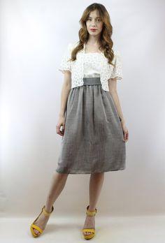 66399912409 Secretary Dress 1980s Dress 80s Dress Lace Dress Day Dress Work Dress  Vintage 80s Grey + White Belte